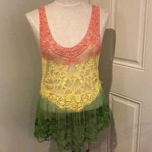Ombré coral yellow green crochet lace tunic tank